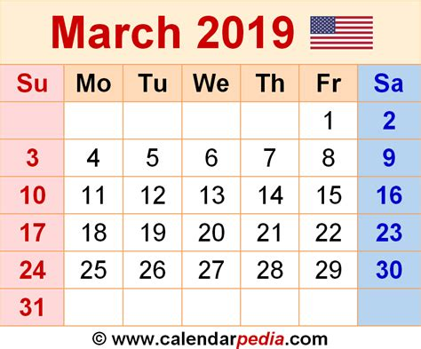 Calendar For March March 2019 Calendars For Word Excel Pdf