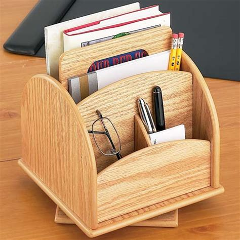 rotating desk or remote organizer oak wood in desktop