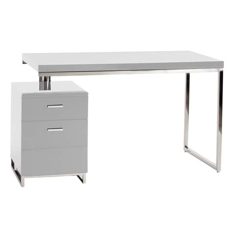 martos desk in white lacquer brushed stainless steel