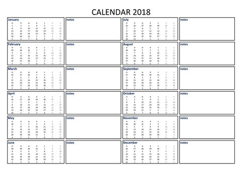 Printable Monthly Calendar With Space For Notes | 2018 calendar excel a3 with notes download our free