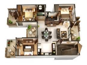 Three Bedroom Floor Plan by 3 Bedroom Apartment House Plans Smiuchin