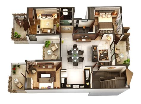 three bedrooms smallhomeplanes 3d isometric views of small house plans