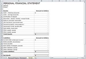 personal financial statement template personal financial