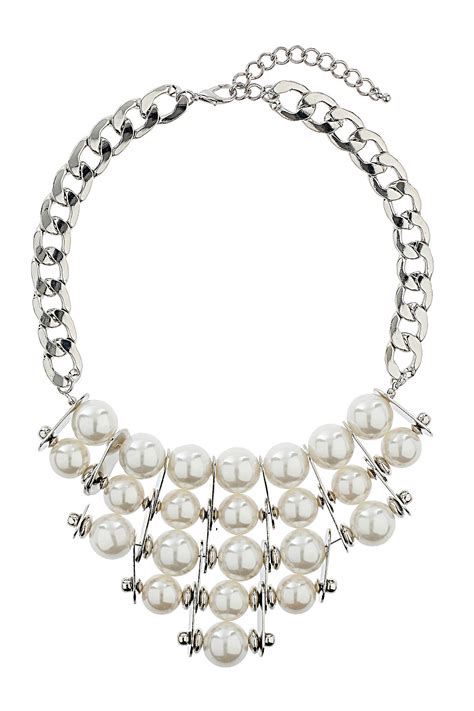 topshop pearl statement necklace in white lyst
