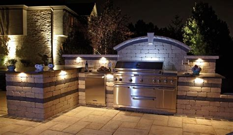 Bbq Island Lighting Ideas Tremendous Bbq Outdoor Kitchen Islands With Tumbled Travertine Brick Backsplash And Mounted