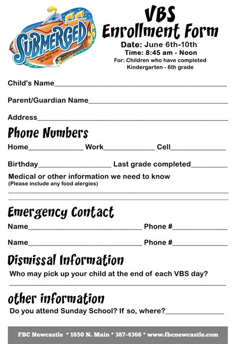2016 Vacation Bible School Guide Vbs Registration Form Template