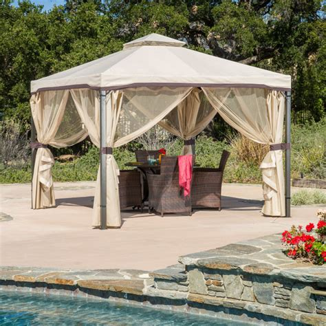 Patio Canopy Gazebo Contemporary Outdoor Patio Gazebo Canopy W Beige Net Drapery Contemporary Patio Los