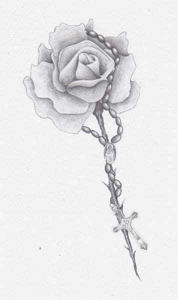 rose tattoo with rosary beads rosary bead drawing ideas