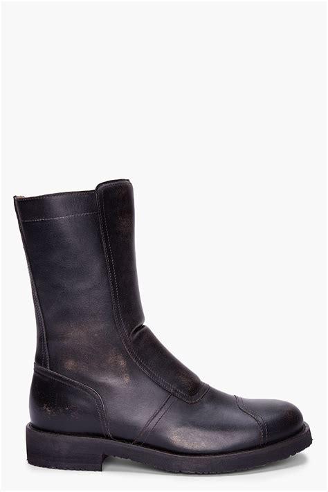 margiela boots mens maison margiela black leather biker boots in black for