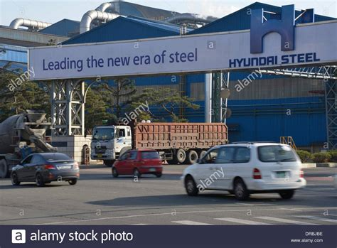 Hyundai Steel Company by Pohang South Korea 21st March 2013 Cars Pass A Factory