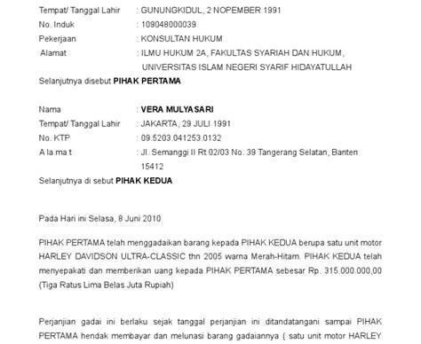 Contoh Surat Perjanjian Gadai Sawah Doc Suratmenyurat Net