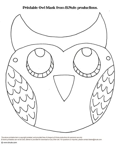 printable animal masks to color free coloring pages of owlanimalmask