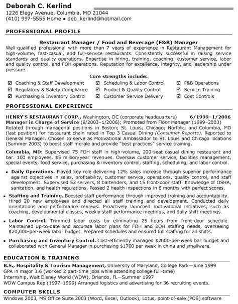 food and beverage manager resume sle restaurant manager resume food beverage manager