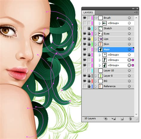 hair pattern adobe illustrator how to create a vector portrait with curly hair in adobe