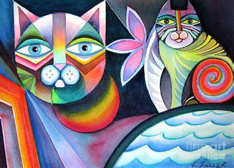 imagenes figurativas no realistas de animales geometricats painting by karin zeller