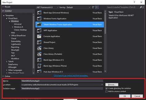 templates visual studio 2015 new project windows