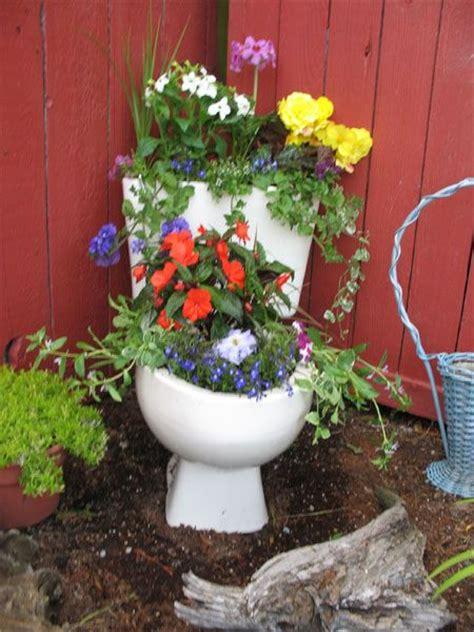 Toilet Flower Planter by Toilet Planter Garden Ideas
