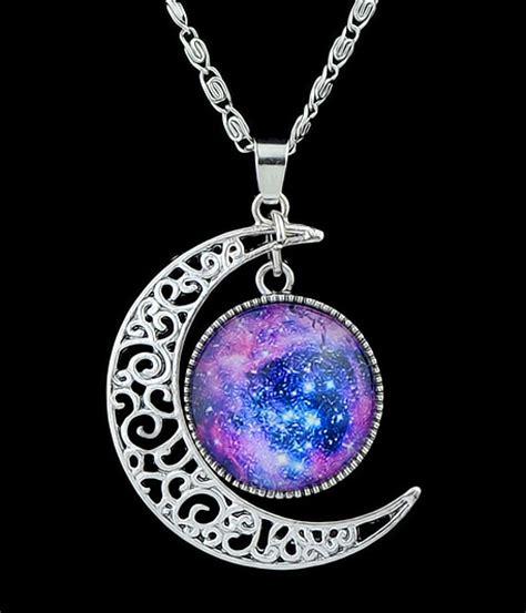 Kalung Moon jual moon necklace galaxy universe kalung bulan batu