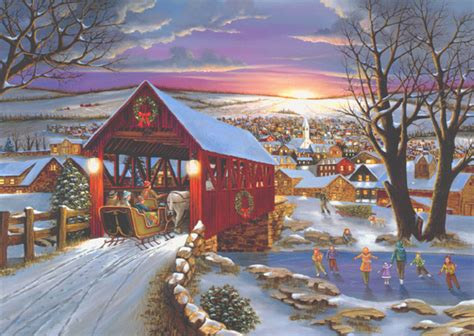 sleigh  covered bridge box   christmas cards  lpg