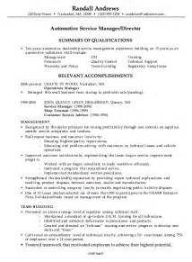 Resume Sample Manager by Combination Resume Example Automotive Service Manager