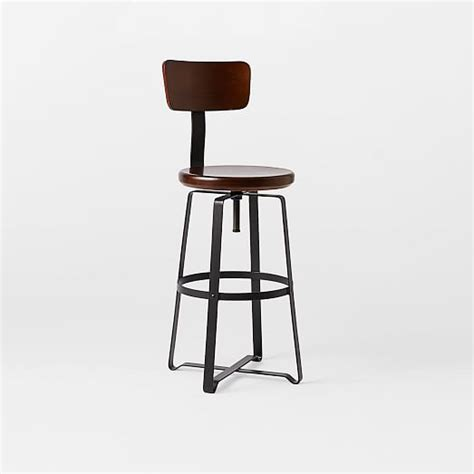Industrial Swivel Bar Stools With Back by Adjustable Rustic Industrial Stool With Back West Elm