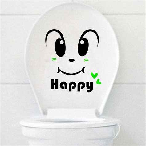 Livaza Wall Decor Be Happy happy smily toilet seat cover sticker bathroom