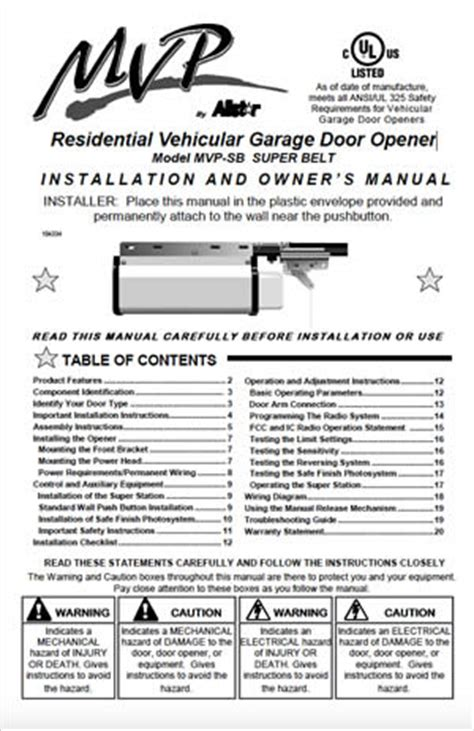 garage door installation manual allstar garage door opener manual user guide