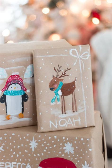 christmas gift wrapping ideas hand painted christmas