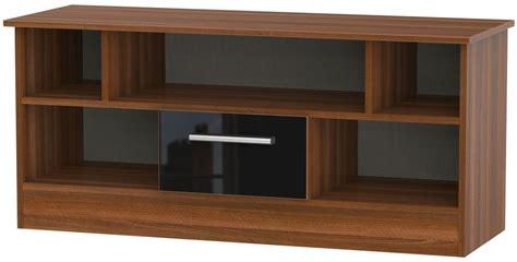 black and walnut living room furniture buy welcome living room furniture gloss black and noche walnut tv unit open cfs uk