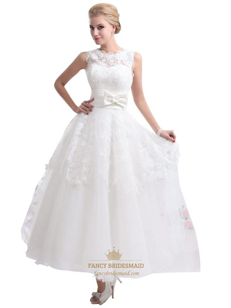 Ivory Lace Bodice Tulle Ankle Length Wedding Dresses With