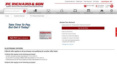 pc richards credit card make payment pc richard credit card login make a payment