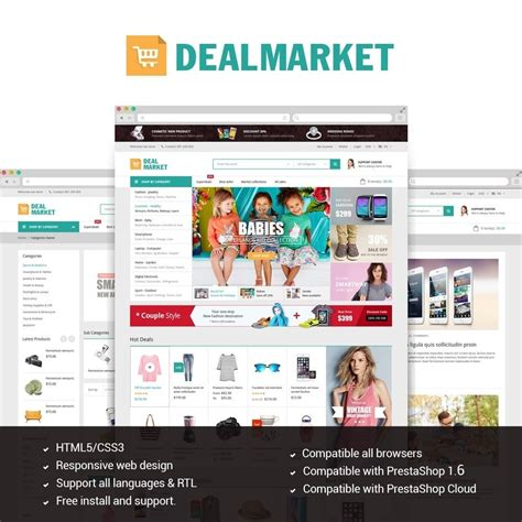 theme toko online prestashop dealmarket fashion store responsive prestashop theme