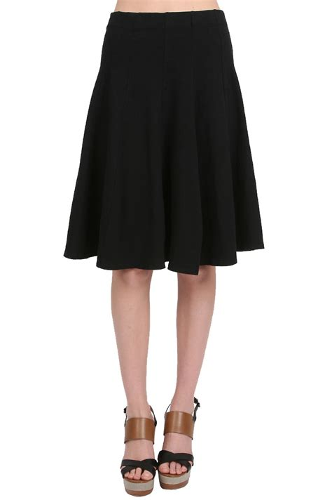 fit and flare knee length skirt in black lyst