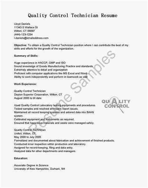 Qc Resume Templates Resume Sles Quality Technician Resume Sle