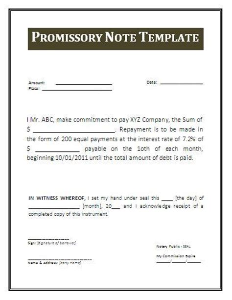 promisorry note template metro map of promissory note templates