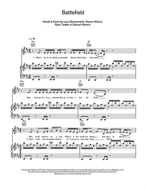 jordin sparks tattoo piano notes battlefield sheet music by jordin sparks piano vocal