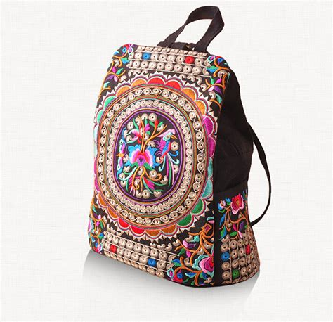 Embroidery Canvas Backpack canvas embroidery ethnic backpack handmade flower