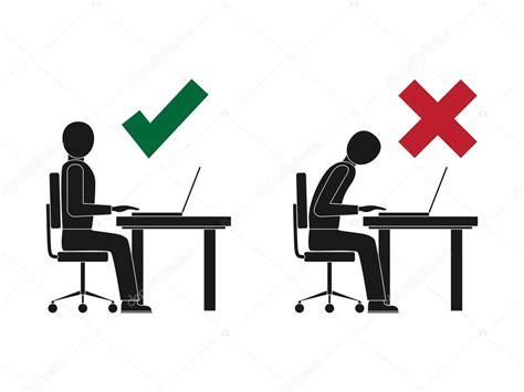 am computer richtige und falsche sitzhaltung am computer stockvektor