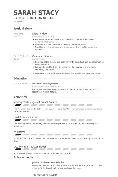 Resume For Aide Position Dietary Aide Resume Exles