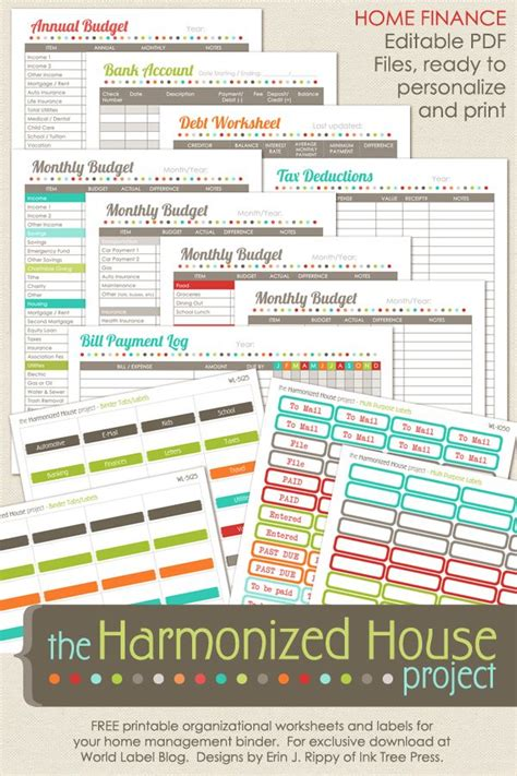 diy label projects and free printables the budget decorator home finance printables the harmonized house project
