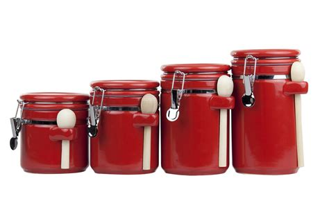 Red Kitchen Canister Sets Ceramic home basics 4pc ceramic canister set w spoon red ebay