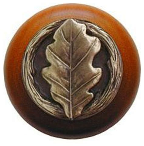 oak leaf cherry wood knob antique brass rustic