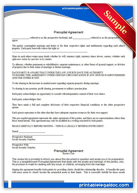 free printable prenuptial agreement legal forms free