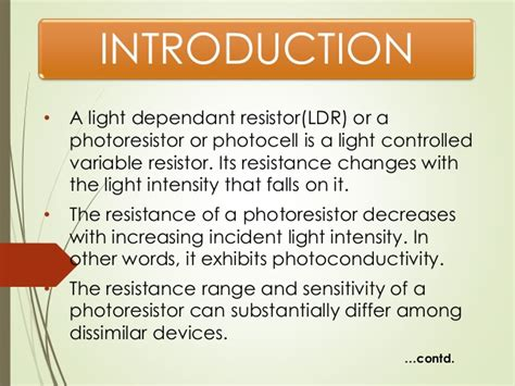 photoresistor properties light dependent resistor
