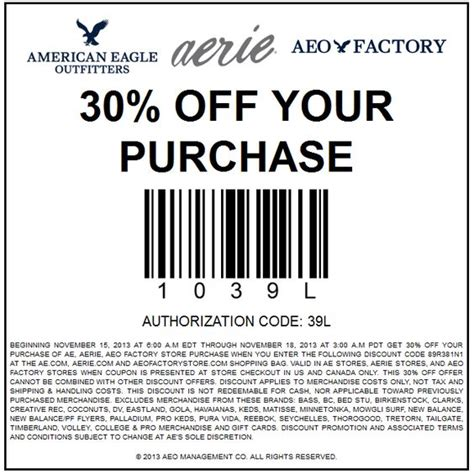 Gift Cards Com Coupon - pinned november 15th 30 off at american eagle outfitters aerie factory locations