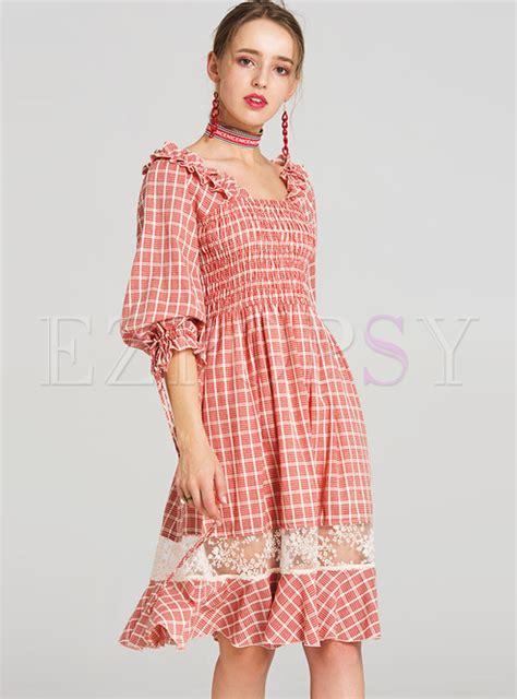 Plaid Sleeve A Line Dress vintage plaid lantern sleeve mesh a line dress ezpopsy