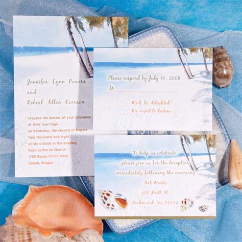 printable wedding invitations beach modern blue beach theme printable online destination
