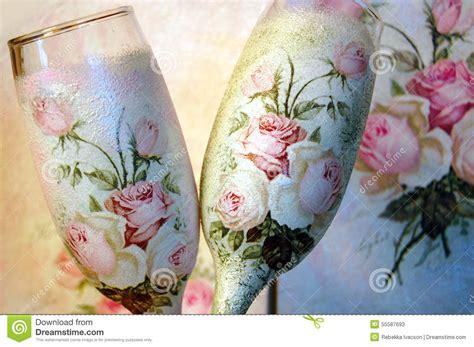 imagenes retro para decoupage o decoupage do vintage decorou copos de vinho foto de