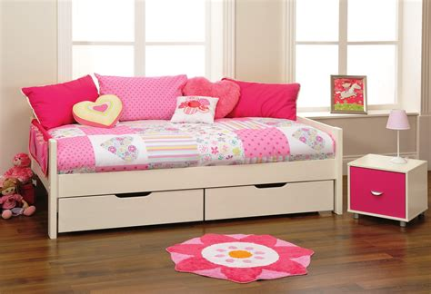 Daybed With Drawers Furniture Beige Polished Wood Daybed Frame With Drawer Underneath Placed On Brown Laminated