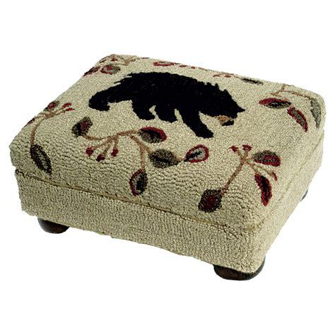 black bear ottoman black bear wool footstool